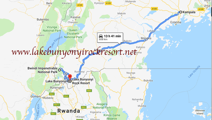 Location of Lake Bunyonyi Rock Resort