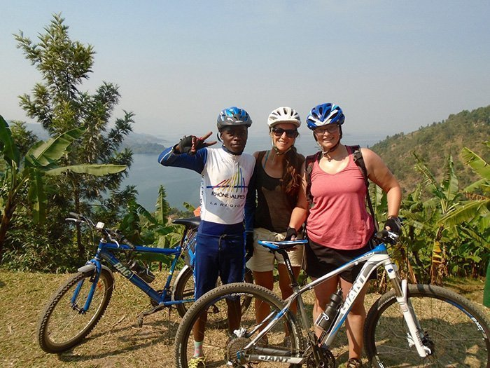 bicyling in Lake bunyonyi
